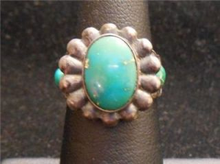 Harvey Era Navajo Cerrillos Turquoise Sterling Silver Ring