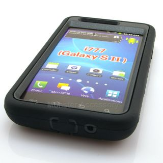 Black Kickstand Double Layer Hard Case Gel Cover for Samsung Galaxy S2