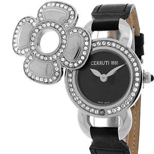 Cerruti 1881 Ladies Swarovski Fiore Swiss Quartz Watch New Black