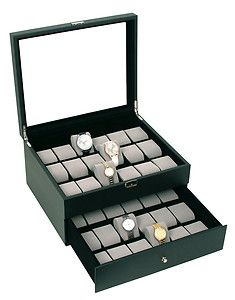 WATCH CASE GLASS TOP WATCH BOX WITH LOCK AND KEY HOLDS 36 WATCHES
