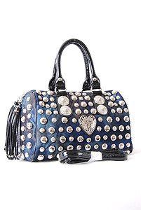 Cate Designer Inspired Heart Studded Boston Bag Medium Black