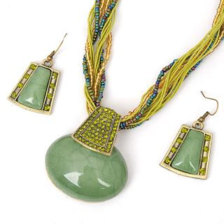 Green Alloy Stone Crystal Earrings Necklace Pendant Chain Sets
