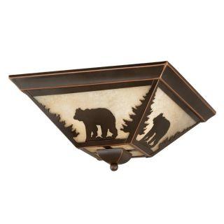 Rustic Bear Flush Mount Ceiling Lighting Fixture Bronze, Amber Glass