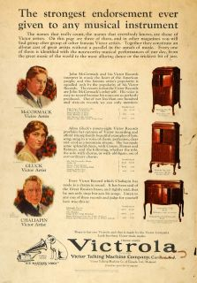 1925 Ad Victrola Victor Talking Machine Cabinet Nipper   ORIGINAL