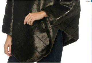 Womens Faux Fur Mink Poncho Wrap Cape Jacket Plus 2X