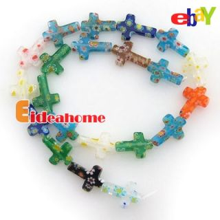 Cross Mixed Color Millefiori Glass Charms Chamilia Beads 110563