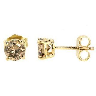 squaretrade ap6 0 fine champagne diamond stud earrings 14k yellow gold