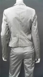 Flavio Castellani Ladies Womens 42 Shiny 2 PC Pants Suit Silver Solid