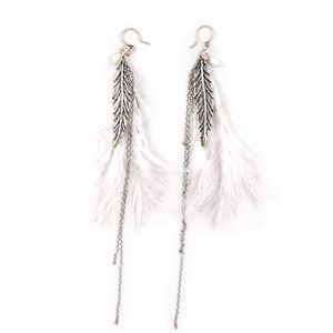 NWT CHAN LUU STERLING SILVER WHITE FEATHER BEAD LONG DANGLE EARRINGS $