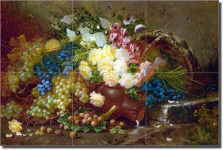 Carlier Fruit Roses Flowers Ceramic Tile Mural Art