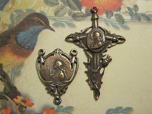 Bronze Rosary Center Cross Chaplet Set † St Joan of Arc