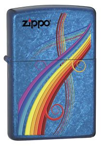 Rainbow Colors on Cerulean Blue Finish Zippo Lighter