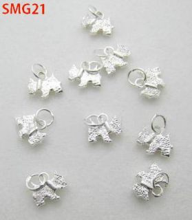 Silver Charm Pendants Kitty Cat Dog Beads Charms Fit Bracelet