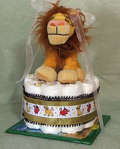 Tier Diaper Cake Lion King Baby Shower Centerpiece Boy or Girl