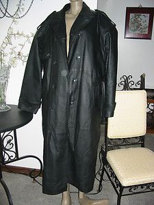 CHARLES KLEIN BLACK LEATHER FULL LENGTH XL UNISEX LINED TRENCH COAT