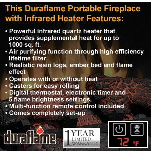DURAFLAME Portable Fireplace Infrared Quartz Heater R C Cherry Finish