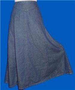 Chadwicks Western Dark Blue Denim Flare Boot Skirt Sz 6P 28 30 Waist