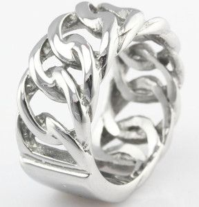 Chain Design 316L Stainless Steel Rings Fashion Jewelry D094 Size 6 5