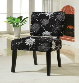 Accent Chair in Black White Flower Pattern Fabic Wood Legs