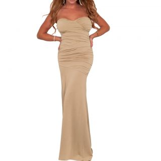 Strapless Evening Cocktail Party Gown Long Maxi Dress