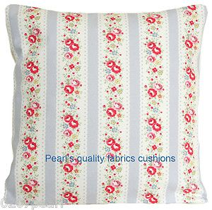 Cushion Pillow Cover Cath Kidston Fabric Lace Stripe Dove Grey French