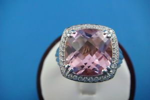 Charles Krypell Rose Gold Silver Pink Topaz and Diamonds Ring