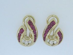 Charles Krypell 18K Gold Ruby and Diamonds Earrings