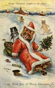 Louis Wain Christmas Cat Santa Claus in Snow Magnet 103