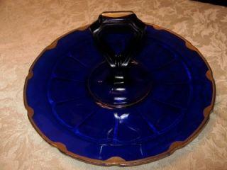 Blue Glass Gold Trim Center Handle Sandwich Serving Tray Plate
