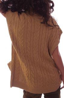 Womens Chaps Ralph Lauren Light Brown Tan Sleeveless Long Sweater Vest