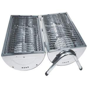 Maxam Portable Charcoal Stainless Steel Barbeque Grill Double Sided