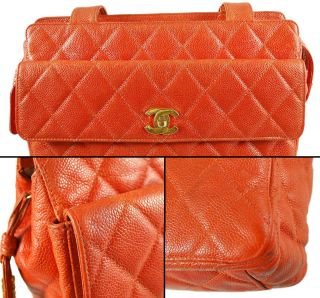 Authentic Chanel Orange Caviar Leather Summer Large Shopping Tote Bag