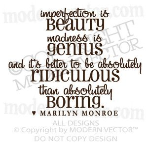 Quote Vinyl Wall Decal Imperfection Is Vinyl Sticker Letters