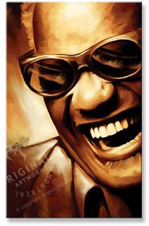 mixed media artwork of ray charles giclee with oil and