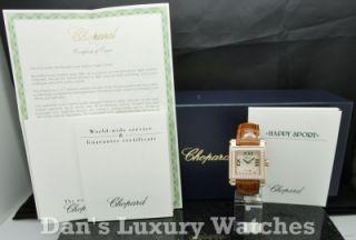 Chopard Happy Sport Square MD 18K Rose Gold Diamonds Watch B P 275321