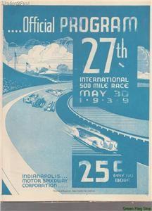 1939 Indianapolis 500 Program Wilbur Shaw Maserati