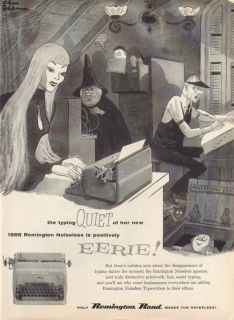 Quiet Eerie Remington Noiseless Ad 1955 Charles Addams