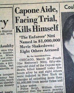 1932 Frank Nitti Al Capone Hitman Suicide Death Chicago Gangland Old