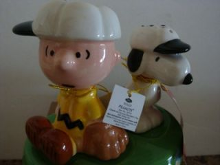 Peanuts Salt Pepper Shakers Snoopy Charlie Brown Baseball