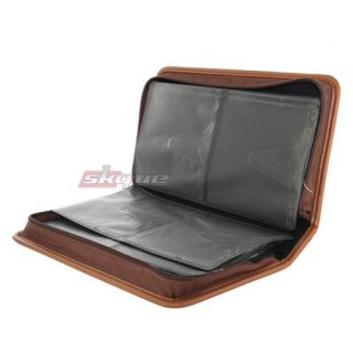 Capacity Leather CD DVD VCD Wallet Case Storage Bag Music Album Brown