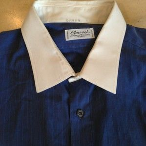 CHARVET Mens Blue Dress Shirt Sz 15 5 39 Made in France French Cuffs