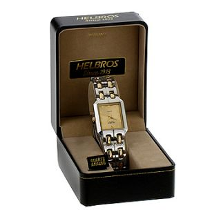 Helbros Mens Two Tone Bracelet Gold Diamond Dial Watch