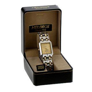 Helbros Mens Two Tone Bracelet Gold Diamond Dial Watch