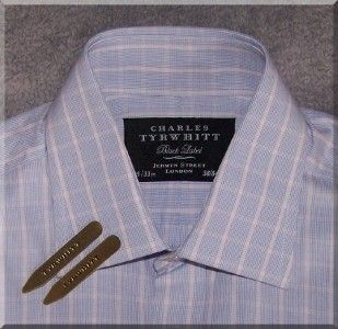 Charles Tyrwhitt L s Double Cuff Check Shirt 15 Collar Black Label