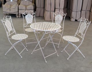 CHAISES + TABLE DE JARDIN EN FER FORGE BLANC MEUBLES EXTERI SALON