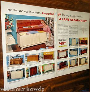 1955 Lane Cedar Hope Chest 2 PG Photo Ad 15 Models w Prices
