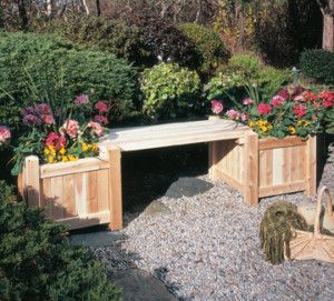 Rustic Cedar Planter Bench