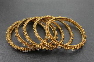 Chamak New Gold and Crystal Bangle Bracelet Jewelry Set One Size BHFO