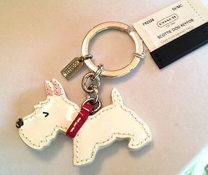 38 Coach Scottie Dog White Patent Leather Silvertone Key Chain Charm