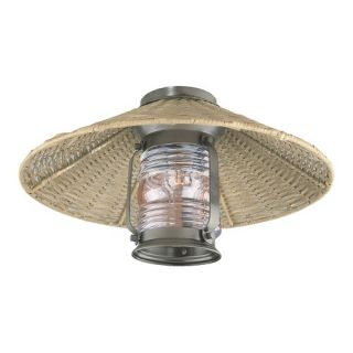 Rustic and Outdoor Ceiling Fan Light Kit in Old Iron with Light Rattan
